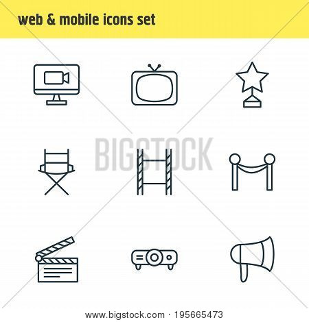 Vector Illustration Of 9 Film Icons. Editable Pack Of Television, Tv, Megaphone And Other Elements.