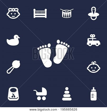 Set Of 13 Child Icons Set.Collection Of Bus, Trace, Cot And Other Elements.