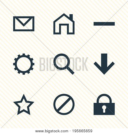 Vector Illustration Of 9 Member Icons. Editable Pack Of Padlock, Mainpage, Magnifier And Other Elements.