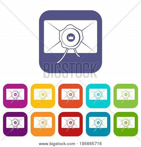 Envelope with wax seal icons set vector illustration in flat style In colors red, blue, green and other