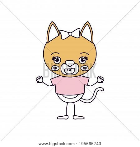 silhouette color sections caricature of cute female cat in blouse with bow lace with happiness expression and smile vector illustration