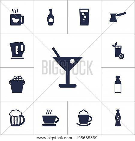Set Of 13 Drinks Icons Set.Collection Of Fizzy Water, Soda, Cream And Other Elements.