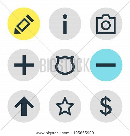 Vector Illustration Of 9 User Icons. Editable Pack Of Pen, Asterisk, Minus And Other Elements.