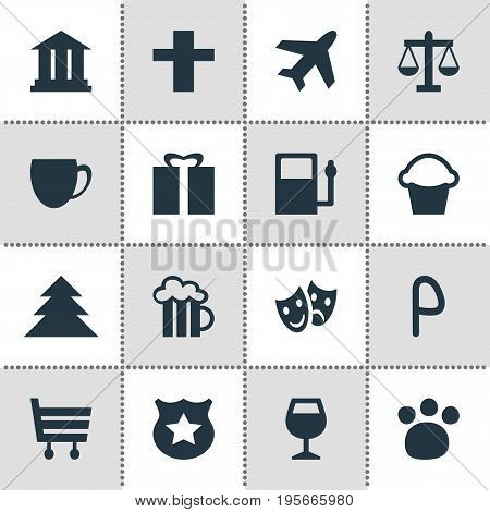 Vector Illustration Of 16 Location Icons. Editable Pack Of Pet Shop, Car Park, Refueling And Other Elements.