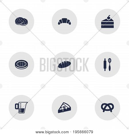 Set Of 9 Cooking Icons Set.Collection Of Measurement, Shortcake, Loaf And Other Elements.