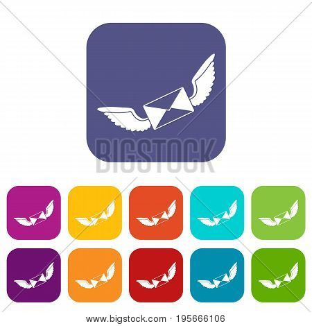 Love letter icons set vector illustration in flat style In colors red, blue, green and other