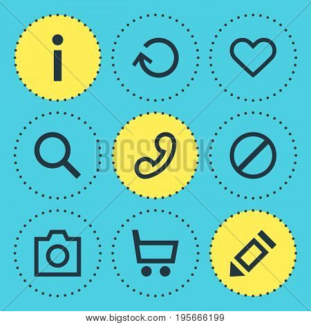 Vector Illustration Of 9 Member Icons. Editable Pack Of Info , Heart, Handset Elements.