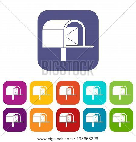 Mailbox icons set vector illustration in flat style In colors red, blue, green and other