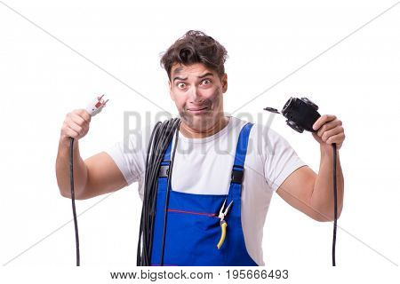 Funny electrician isolated on white