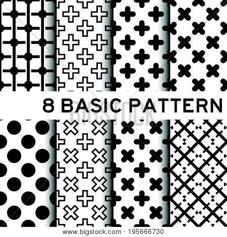 8 Basic black and white color geometric pattern