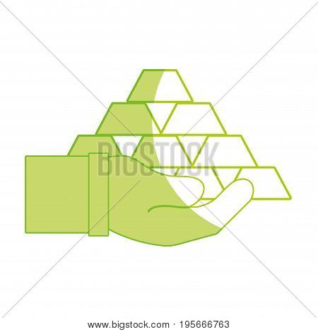 silhouette financial gold elements in the hand vector illustraton design