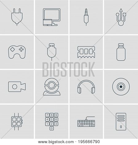 Vector Illustration Of 16 Laptop Icons. Editable Pack Of Input Jack, Mainframe, Modern Watch And Other Elements.