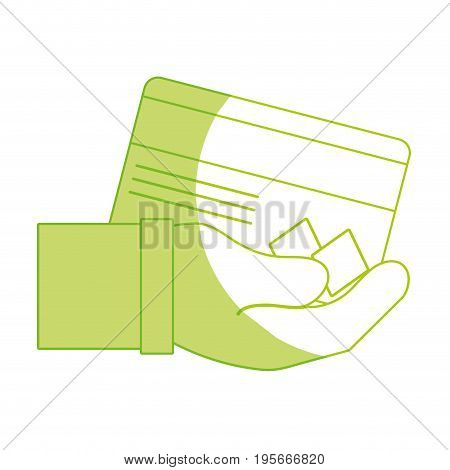 silhouette credit card electronic currency in the hand vector illustration