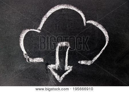 White chalk drawing as cloud and down arrow icon on black board background (Concept for cloud computer download)