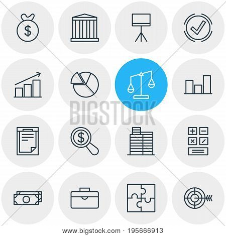 Vector Illustration Of 16 Management Icons. Editable Pack Of Balance, Building, Calculate And Other Elements.