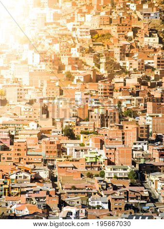 Slum houses built in steep hill of La Paz, Bolivia, South America.