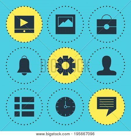 Vector Illustration Of 9 Web Icons. Editable Pack Of Portfolio, Landscape Photo, Notification Elements.
