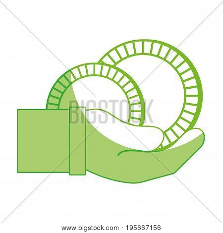 silhouette coins cash currency in the hand vector illusration design