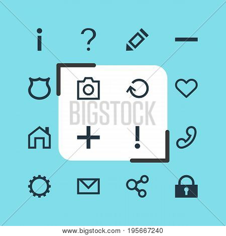 Vector Illustration Of 16 Interface Icons. Editable Pack Of Letter, Heart, Snapshot And Other Elements.