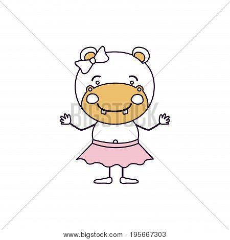 silhouette color sections caricature of cute expression female hippo in skirt with bow lace vector illustration