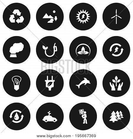 Set Of 16 Atmosphere Icons Set.Collection Of Eco, Energy, Fish And Other Elements.
