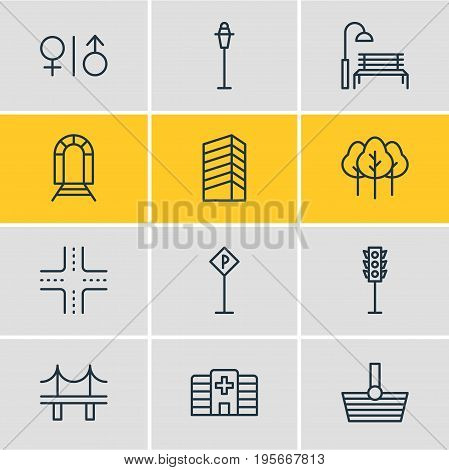 Vector Illustration Of 12 Urban Icons. Editable Pack Of Lamppost, Semaphore, Bench And Other Elements.