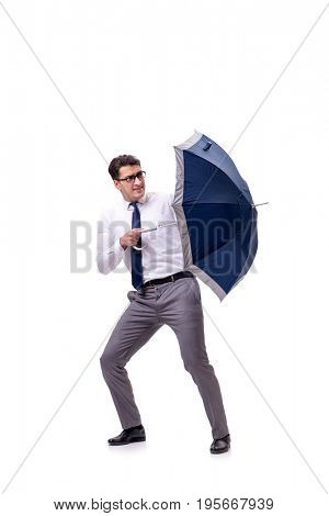 Young businessman with umbrella isolated on white
