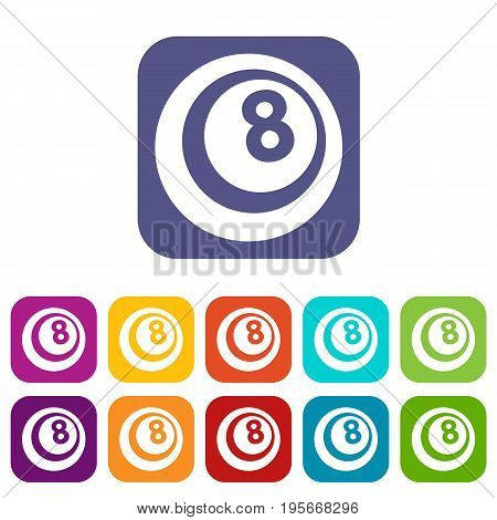 Snooker eight pool icons set vector illustration in flat style In colors red, blue, green and other