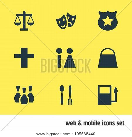 Vector Illustration Of 9 Check-In Icons. Editable Pack Of Refueling, Scales, Masks And Other Elements.