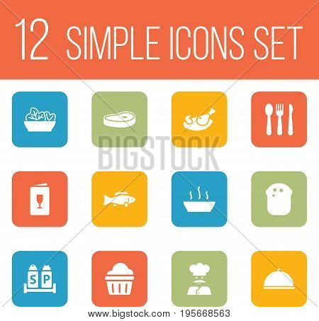 Set Of 12 Cafe Icons Set.Collection Of Food, Grill, Cook And Other Elements.