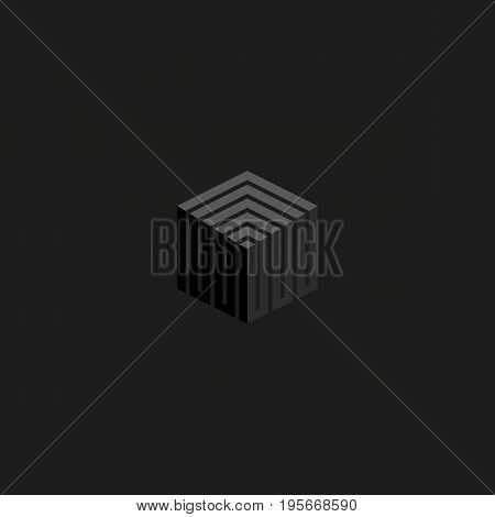 Isometric Cube Logo Perspective Lines Construction, Gray Color Modern Maze Tech Symbol, Idea 3D Box