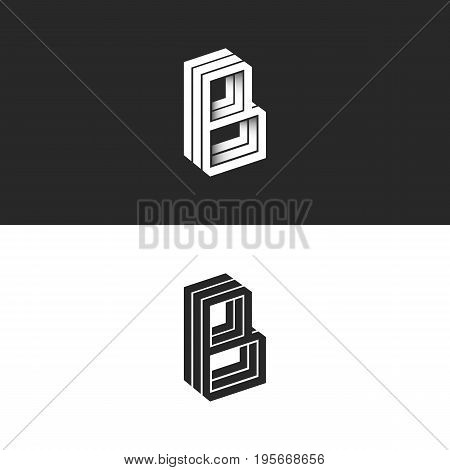 Letter B Logo Isometric Lines Geometric Shape Hipster Monogram, Simple Linear Typography Black And W