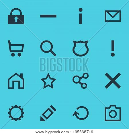 Vector Illustration Of 16 Interface Icons. Editable Pack Of Mainpage, Letter, Minus And Other Elements.