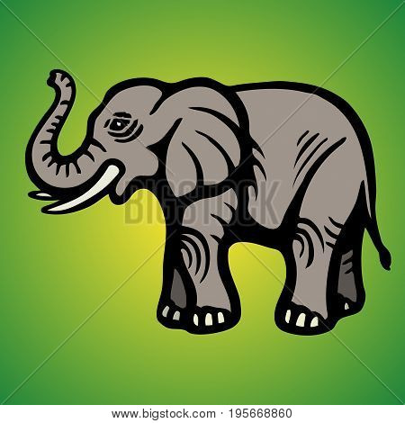 Elephant. Flat Image. Isolated object. Green background Vector illustration