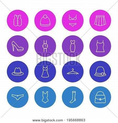 Vector Illustration Of 16 Dress Icons. Editable Pack Of Sarafan, Apparel, Pompom And Other Elements.