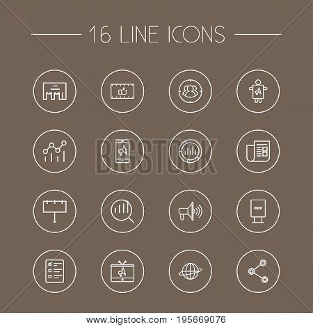 Set Of 16 Trade Outline Icons Set.Collection Of Campaign, Mobile Marketing, Market And Other Elements.