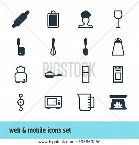 Vector Illustration Of 16 Cooking Icons. Editable Pack Of Bread, Cook, Butcher Knife And Other Elements.
