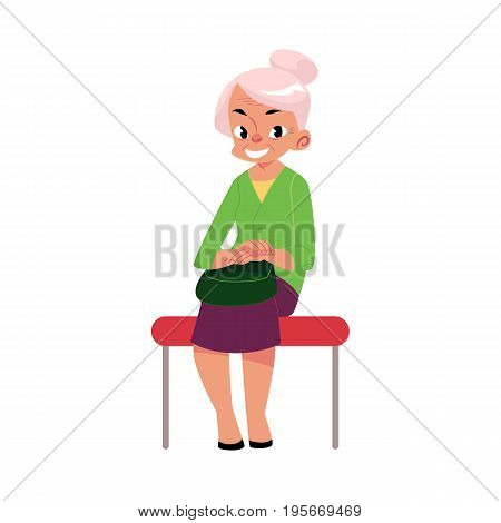 Elegant grey haired woman, old lady sitting in subway, bus, cartoon vector illustration isolated on white background. Full length portrait of old lady, woman in subway, bus sitting with hands on knees