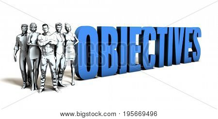 Objectives Business Concept as a Presentation Background 3D Illustration Render