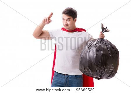 Superhero man with garbage sack isolated on white