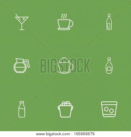 Set Of 9 Beverages Outline Icons Set.Collection Of Ice Bucket, Dairy, Whiskey And Other Elements.