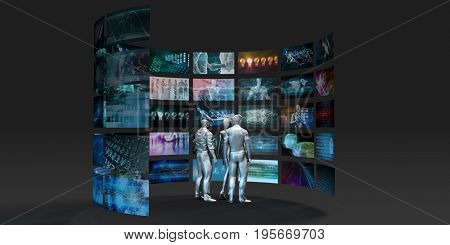 Video Wall Abstract with Business People Watching 3D Illustration Render