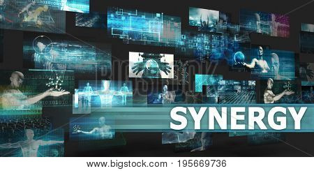 Synergy Presentation Background with Technology Abstract Art 3D Illustration Render