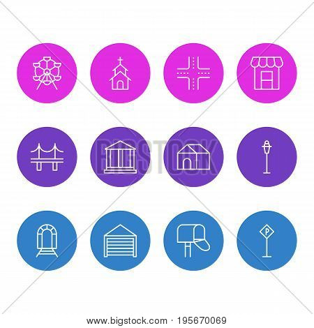 Vector Illustration Of 12 Infrastructure Icons. Editable Pack Of Intersection, Subway, Ferris Wheel And Other Elements.