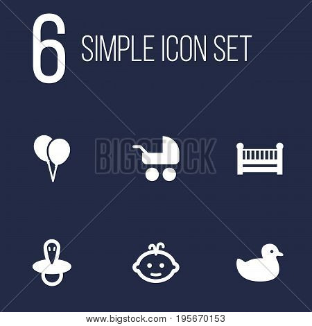 Set Of 6 Child Icons Set.Collection Of Duck, Teat, Cot And Other Elements.