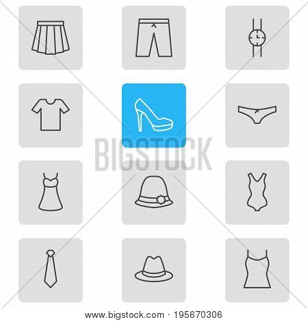Vector Illustration Of 12 Dress Icons. Editable Pack Of Panties, Sandal, Singlet Elements.