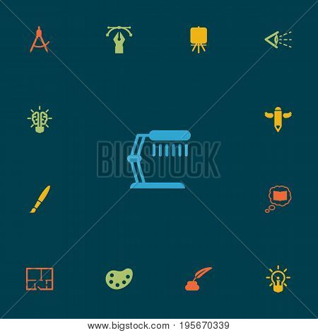 Set Of 13 Constructive Icons Set.Collection Of Look, Scheme, Bulb And Other Elements.