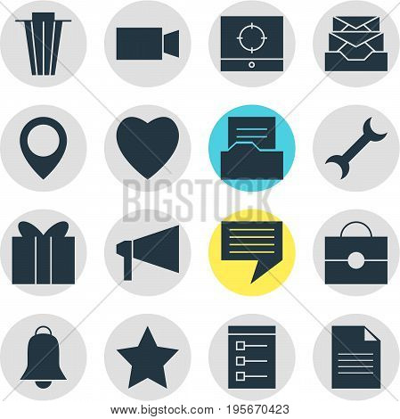 Vector Illustration Of 16 Online Icons. Editable Pack Of Target Scope, Love, Chat And Other Elements.