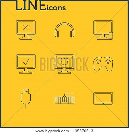Vector Illustration Of 9 Computer Icons. Editable Pack Of Phone Near Computer, Serial Bus, Qwerty Board And Other Elements.