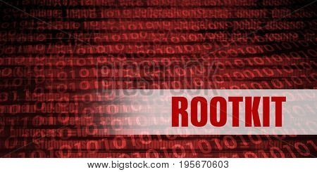 Rootkit Security Warning on Red Binary Technology Background
